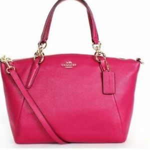Small Kelsey Satchel Magenta Pink Pebble Leather